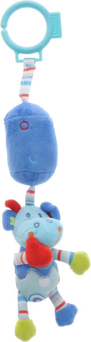 Жирафики Игрушка-подвеска Динозаврик цвет синий голубой93924Забавная развивающая игрушка-подвеска Жирафики Динозаврик поднимет вашему малышу настроение и непременно вызовет улыбку! Игрушка выполнена из мягкого, приятного на ощупь материала различных фактур в виде динозаврика с мягким цилиндром. Внутри цилиндра имеется погремушка, которая весело гремит при встряхивании. С помощью пластикового кольца игрушка может крепиться к кроватке или коляске. Игрушка очень удобна для маленьких детских ручек. Малыш сможет ее держать, перекладывать из одной ручки в другую. Игрушка способствует развитию слухового, зрительного и эмоционального восприятия, тактильных ощущений, мелкой моторики.