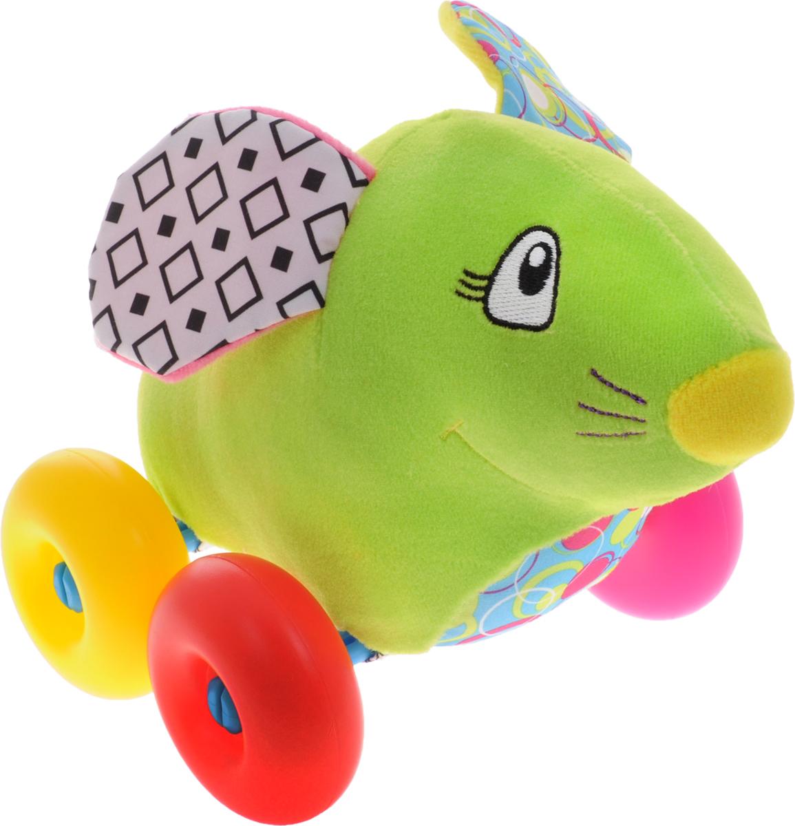Жирафики Игрушка-каталка Мышка93876Симпатичная игрушка-каталка Жирафики Мышка из яркого и мягкого материала обязательно понравится малышу. Игрушка на больших пластмассовых колесиках, поэтому ее легко катать даже самым маленьким детям. В ушах у мышки спрятаны шуршалки, играя с которыми ребенок развивает тактильные ощущения и мелкую моторику рук. Игрушка-каталка развивает пространственное мышление, цветовое восприятие, ловкость и координацию движений.