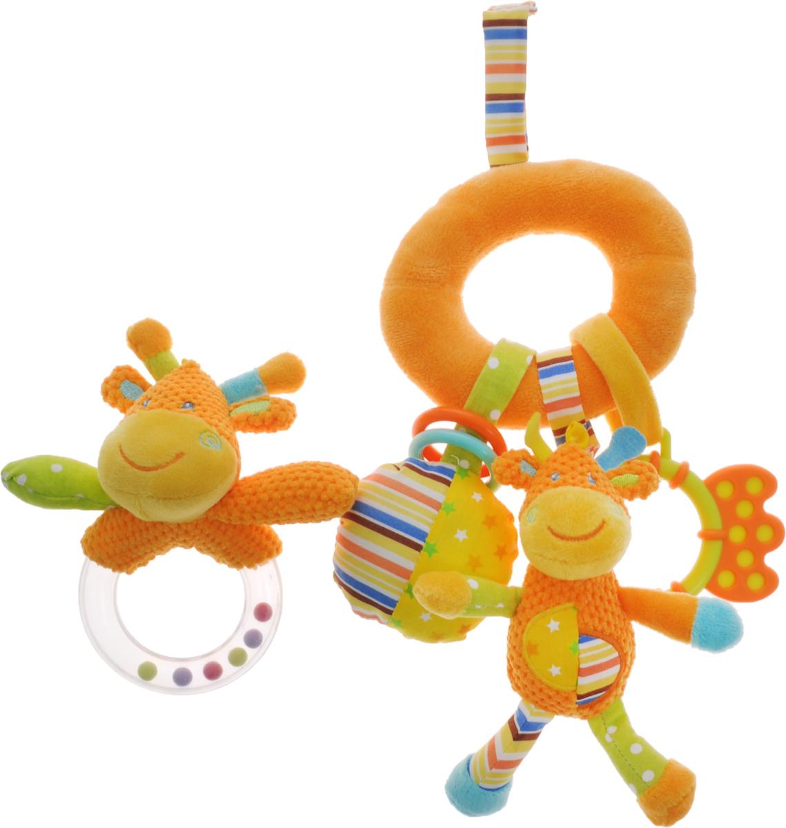 Жирафики Набор подарочный Первые игрушки малыша 2 предмета939302Подарочный набор Жирафики Первые игрушки малыша включает в себя погремушку и игрушку-подвеску. Набор предназначен для игровых целей, развития внимания, наглядно-действенного мышления, мелкой моторики, координации движений, цветовосприятия и тактильных ощущений. При встряхивании погремушка издает характерный приятный звук. Малыш с интересом будет следить за разноцветными шариками внутри колечка. Забавная погремушка поднимет вашему малышу настроение и непременно вызовет улыбку! Игрушка подвеска содержит элемент пищалки и погремушку. С помощью пластикового незамкнутого кольца и текстильной веревочки на липучке игрушку можно подвесить к кроватке, коляске, автокреслу или игровой дуге малыша. Игрушки поставляются в удобной пластиковой сумочке, что отлично подойдет в качестве подарка.