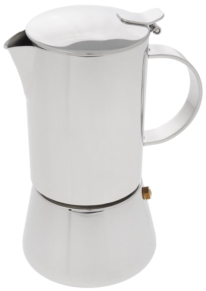 Эспрессо-кофеварка гейзерного типа BergHOFF, 240 мл1106916Эспрессо-кофеварка BergHOFF, выполненная из высококачественной нержавеющей стали 18/10, работает по принципу прохождения воды через слой молотого кофе под давлением пара. Благодаря нержавеющей стали, кофе долго остается горячим. Внешняя сторона имеет зеркальную полировку, которая устойчива к образованию налета, царапин или прочих неприятностей ежедневного использования. Кофе - это целая культура, которая сегодня завоевала весь мир, а бельгийская компания BergHOFF - признанный лидер по производству посуды. Именно поэтому кофеварка BergHOFF - лучшее решение для тех, кто в покупке желает сочетать практичность и надежность. А еще это отличная возможность начать утро, с чашечки свежесваренного эспрессо. br> Подходит для всех типов плит, включая индукционные. Можно мыть в посудомоечной машине. Высота эспрессо-кофеварки:17,5 см. Диаметр эспрессо-кофеварки (по верхнему краю): 7,2 см. Диаметр основания: 9 см. Объем: 240 мл.