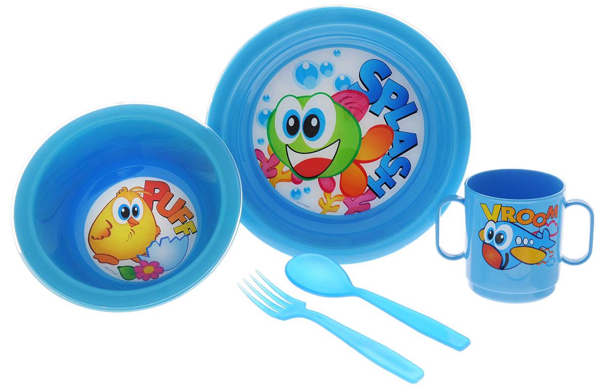 Cosmoplast Набор детской посуды Baby Tris Set Рыбка 5 предметов2390_голубой, рыбка, цыпленокНабор детской посуды Cosmoplast Baby Tris Set. Рыбка состоит из миски, тарелки, чашки с двумя ручками, вилки и ложки. Все предметы набора изготовлены из высококачественного пищевого полипропилена и пластика по специальной технологии, которая гарантирует простоту ухода, прочность и безопасность изделий для детей. Предметы сервиза оформлены красочными рисунками, которые обязательно понравятся вашему малышу. Не содержит бисфенол А.