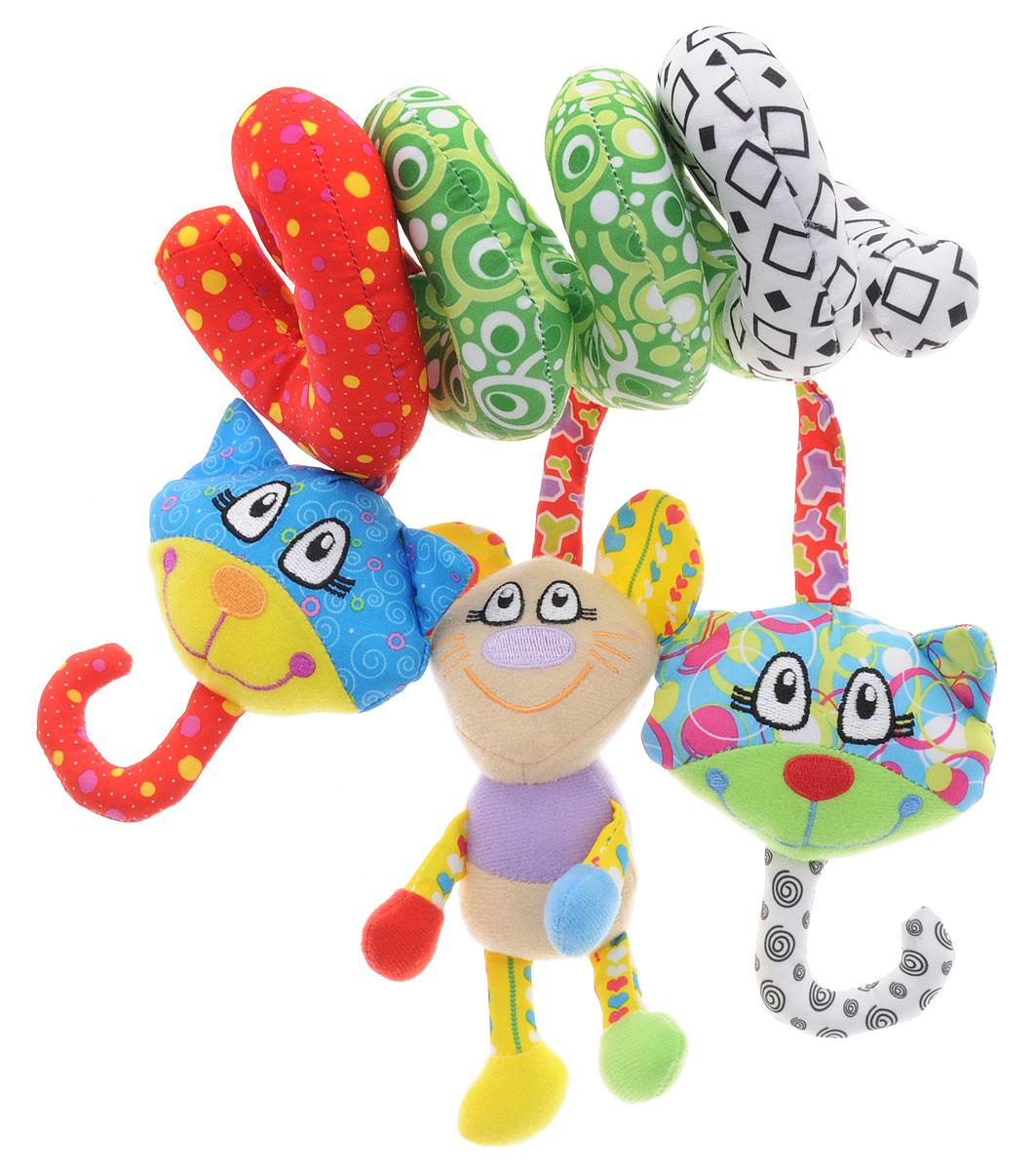 Жирафики Игрушка-подвеска Кот и мышонок93938Яркая игрушка-подвеска Жирафики Кот и мышонок выполнена из материалов различной фактуры в виде растяжки. Как же весело и интересно ее рассматривать! Но держать ее в маленьких ручках еще интереснее, ведь она таит в себе столько приятных сюрпризов и столько удивительных открытий! На каждом изгибе малютку ожидает забавный сюрприз: спрятанные в игрушках пищалка, погремушка и шуршащие элементы (ушки). Игрушка-подвеска поможет ребенку в развитии цветового и звукового восприятия, концентрации внимания, мелкой моторики рук, координации движений и тактильных ощущений.