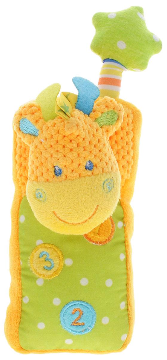 Жирафики Развивающая игрушка Телефон Жирафик93809Развивающая игрушка Жирафики Телефон. Жирафик выполнена из материалов различной фактуры. Как же весело и интересно ее рассматривать! Но держать ее в маленьких ручках еще интереснее, ведь она таит в себе столько приятных сюрпризов и столько удивительных открытий! Этот мягкий и удобный игрушечный телефончик легко поместится в детской ладошке. Если нажать на цифры, то послышится звук звонящего телефона. Играя с данной игрушкой, ребенок развивает слуховое восприятие, тактильные ощущения и мелкую моторику рук.