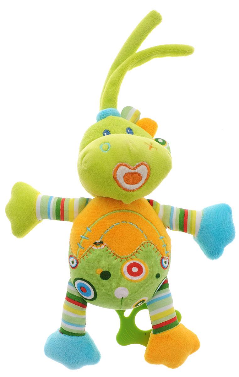 Жирафики Музыкальная игрушка-подвеска Динозаврик 9392793927Музыкальная игрушка-подвеска Жирафики Динозаврик выполнена из мягкого приятного на ощупь материала разных цветов и фактур в виде забавного динозавра. Снизу к подвеске с помощью текстильного шнура крепится прорезыватель. Потяните за него вниз, и он начнет медленно подниматься к динозаврику под нежную спокойную мелодию. Эта тихая музыка поможет малышу успокоиться и заснуть. Музыкальную подвеску можно прикрепить к кроватке, коляске или манежу при помощи двух текстильных веревочек. Музыкальная игрушка-подвеска поможет ребенку развить мелкую моторику рук, зрительное и слуховое восприятия, тактильные ощущения.