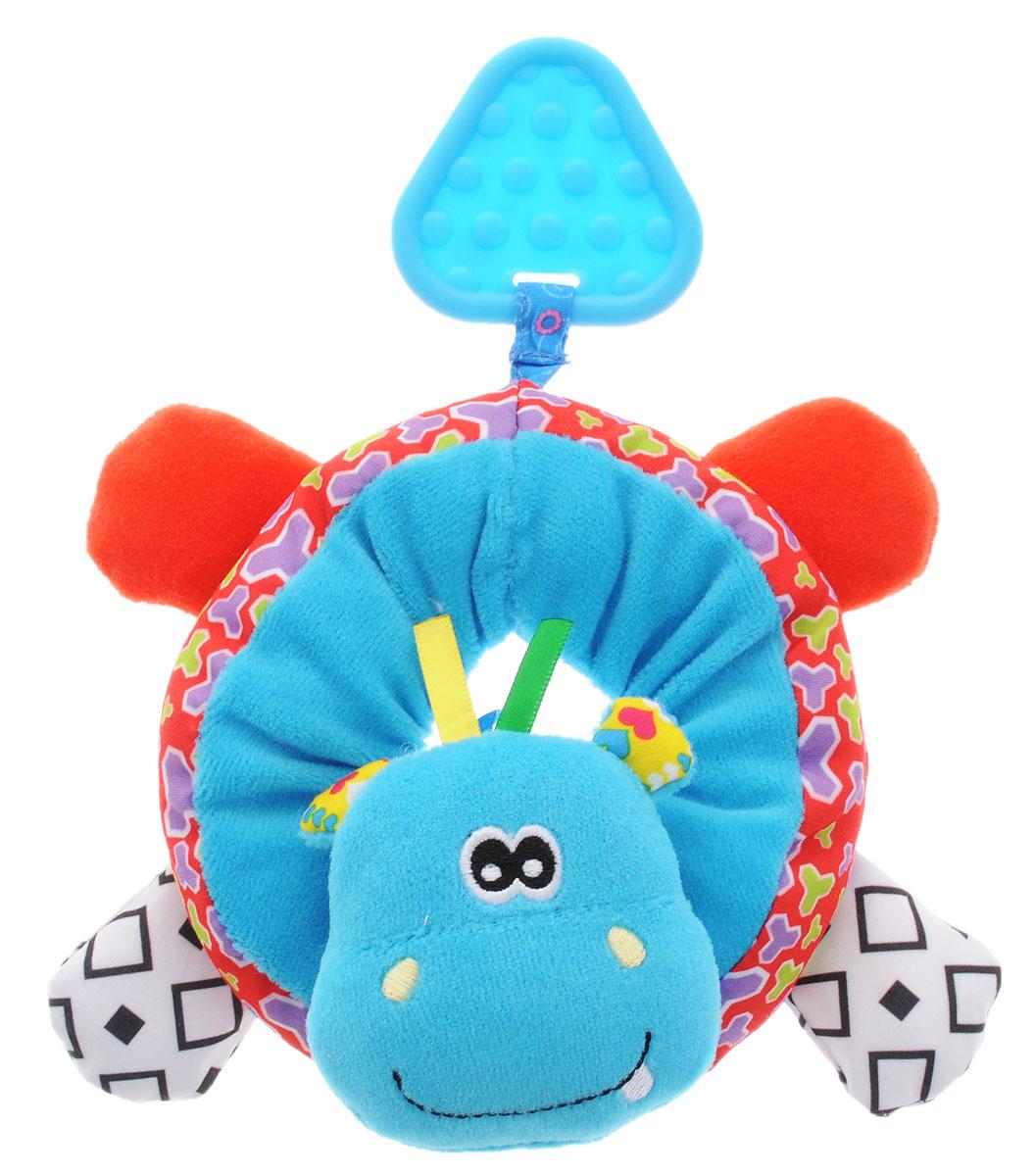 Жирафики Развивающая игрушка Браслет на ножку Бегемотик93932Развивающая игрушка Жирафики Браслет на ножку Бегемотик - это игрушка-сюрприз, так как внутри нее спрятаны погремушка и шуршалки. Если надеть браслет на ножку малыша, он обязательно заинтересуется, ведь он выполнен из ярких разноцветных материалов и напоминает забавного бегемота. Малыш с увлечением будет рассматривать его мордочку, ушки и лапки. К браслету прикреплен прорезыватель в виде голубого треугольника.
