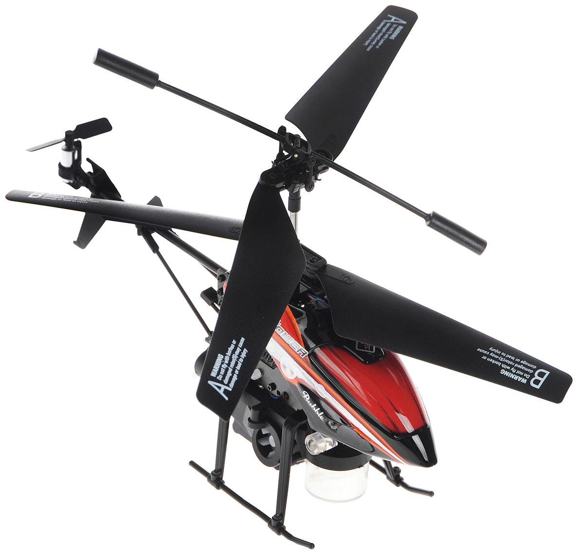 ABtoys Вертолет на инфракрасном управлении Bubble цвет черный красныйC-00107(V757)_черный, красныйВертолет на инфракрасном управлении ABtoys Bubble на инфракрасном управлении со встроенным гироскопом и 3,5-канальной системой управления. Особенности: Вертолет оборудован устройством для запуска мыльных пузырей. Запуск пузырей осуществляется с помощью специальной кнопки на пульте. В комплекте имеется флакон с мыльным раствором, а также специальная пипетка и воронка для заправки емкости вертолета. С пульта управления вертолетом можно включить или выключить курсовой прожектор. Встроенный гироскоп, обеспечивающий устойчивость вертолета в полете, функция зависания в воздухе, пропорциональный триммер для выравнивания полета делают этот вертолет идеальным для игры как внутри помещения, так и на улице. Вертолет может двигаться во всех направлениях. Имеются световые эффекты. Сделайте своему ребенку такой замечательный подарок! Вертолет работает от встроенного аккумулятора (заряжается от пульта управления и через USB кабель). Для работы вертолета необходимо купить 6...