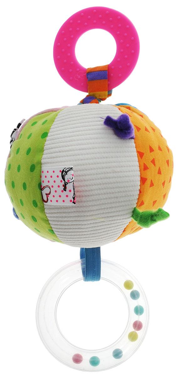 Жирафики Развивающая игрушка Мяч93651Яркая развивающая игрушка Жирафики Мяч изготовлена из материалов различной фактуры. Как же весело и интересно ее рассматривать! Но держать ее в маленьких ручках еще интереснее, ведь она таит в себе столько приятных сюрпризов и столько удивительных открытий! К мягкому мячику прикреплены прорезыватель для зубов и погремушка. Также к игрушке крепится текстильная веревочка. Если потянуть вниз за прорезыватель, то мяч начнет вибрировать и издавать забавный звук до тех пор, пока веревочка не вернется в исходное положение. Игрушка способствует развитию цветовосприятия, звуковосприятия и мелкой моторики рук.