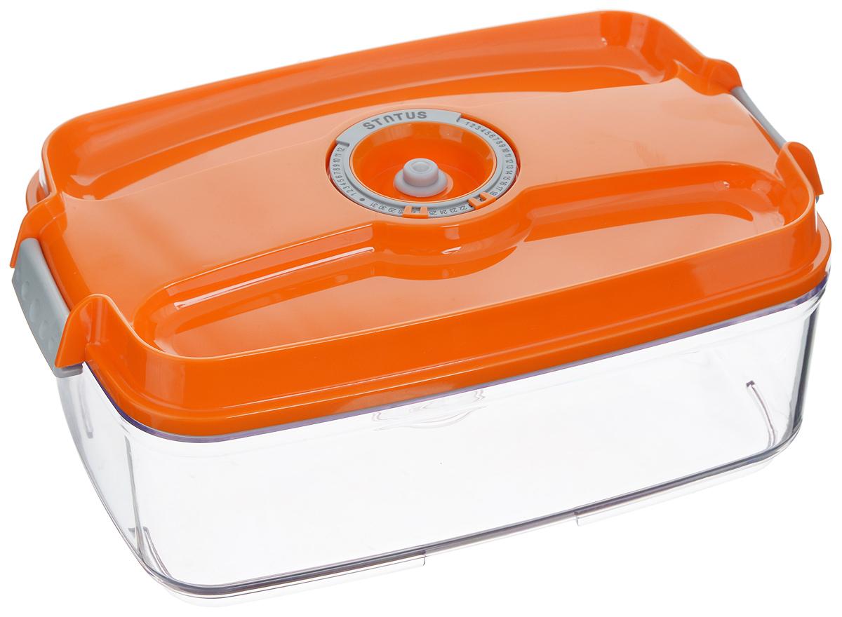 Контейнер вакуумный Status, с индикатором даты срока хранения, цвет: прозрачный, оранжевый, 3 лVAC-REC-30 OrangeВакуумный контейнер Status выполнен из хрустально-прозрачного прочного тритана. Благодаря вакууму, продукты не подвергаются внешнему воздействию, и срок хранения значительно увеличивается, сохраняют свои вкусовые качества и аромат, а запахи в холодильнике не перемешиваются. Допускается замораживание до -21°C, мойка контейнера в посудомоечной машине, разогрев в СВЧ (без крышки). Рекомендовано хранение следующих продуктов: макаронные изделия, крупа, мука, кофе в зёрнах, сухофрукты, супы, соусы. Контейнер имеет индикатор даты, который позволяет отмечать дату конца срока годности продуктов. Размер контейнера (с учетом крышки): 29,5 х 18,5 х 11,5 см.