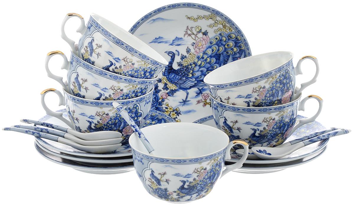 Набор чайный Elan Gallery Павлин на серебре, 18 предметов180688Набор чайный Elan Gallery Павлин на серебре состоит из 6 чашек, 6 блюдец и 6 чайных ложек. Изделия выполнены из высококачественной керамики и декорированы изображением павлинов. Такой набор дополнит сервировку стола к чаепитию. Благодаря изысканному дизайну и качеству исполнения он станет замечательным подарком для ваших друзей и близких. Набор упакован в подарочную коробку, задрапированную белой атласной тканью. Объем чашки: 250 мл. Диаметр чашки (по верхнему краю): 9,5 см. Высота чашки: 6 см. Диаметр блюдца: 15 см. Высота блюдца: 2 см. Длина чайной ложки: 12,5 см.