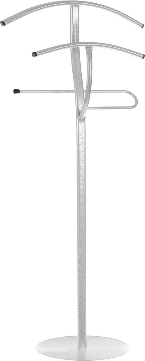 Вешалка-стойка ЗМИ Слуга, цвет: белое серебро, высота 1,1 мВНП 142Напольная вешалка-стойка ЗМИ Слуга выполнена из высококачественного прочного металла со специальным полимерным покрытием. Вешалка предназначена для бережного хранения двух плечевых вещей и одной пары брюк. Вешалка ЗМИ Слуга отлично дополнит интерьер вашей гардеробной комнаты.