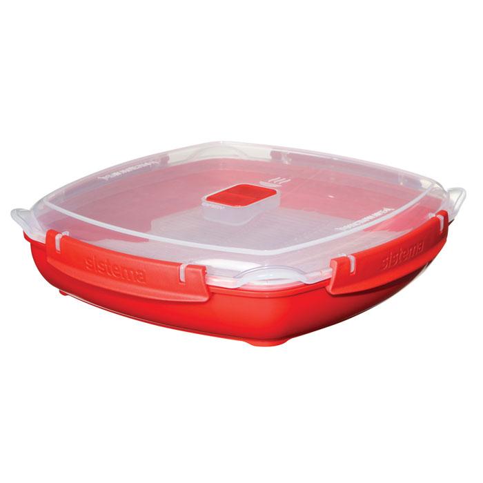 Контейнер низкий Sistema MICROWAVE 1,3л1106В контейнере Microwave вы с легкостью сможете не только разогреть пищу в СВЧ, но и приготовить ее. Нет ничего более полезного, чем приготовление на пару в контейнерах Sistema. Просто налейте воды в базовый контейнер, поместите пищу на специальную решетку, откройте на крышке клапан пароотвода и поместите все в микроволновую печь. Через несколько минут вы можете насладиться полезной пищей. На крышке имеется прорезиненный обод, который способствует более герметичному закрыванию, в связи с чем продукты дольше сохраняют свои свойства. Контейнер оснащен фиксирующимися зажимами – клипсами, которые при необходимости можно будет заменить. Можно мыть в посудомоечной машине.