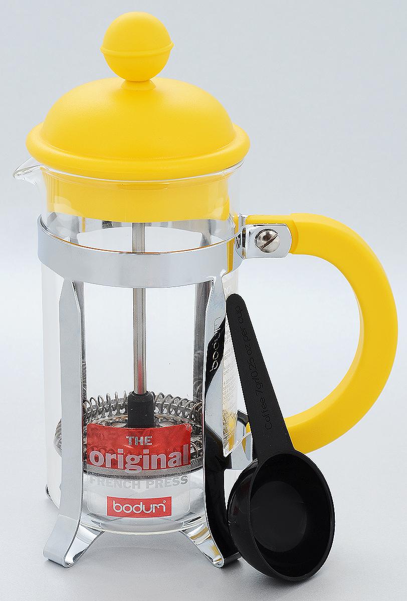 """Френч-пресс Bodum """"Caffettiera"""", с мерной ложкой, цвет: желтый, серебристый, прозрачный, 350 мл A1913-957-Y15"""