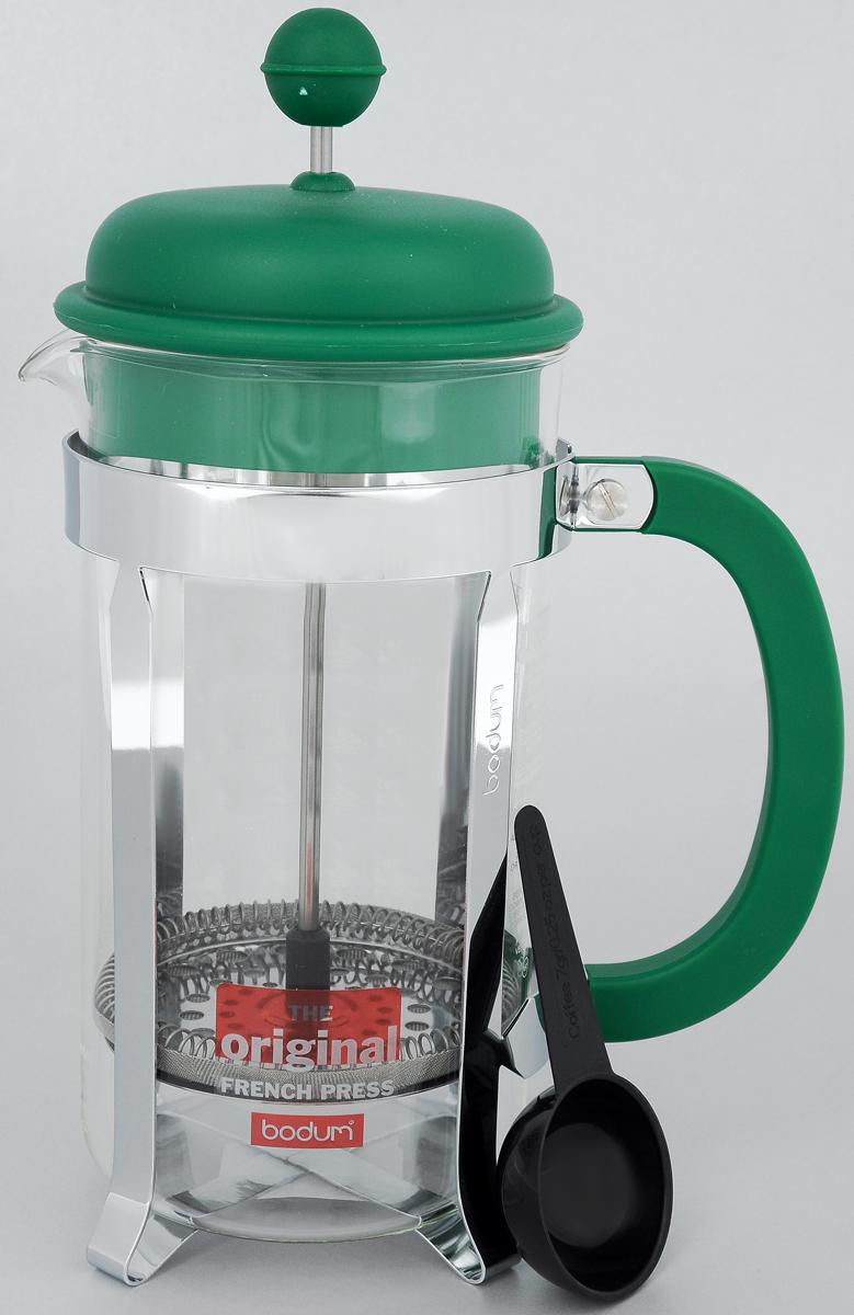 Френч-пресс Bodum Caffettiera, с мерной ложкой, цвет: зеленый, серебристый, 1 лA1918-825-Y15Френч-пресс Bodum Caffettiera изготовлен из высококачественной нержавеющей стали, пластика и жаропрочного стекла. Фильтр-поршень из нержавеющей стали выполнен по технологии Press-Up для обеспечения равномерной циркуляции воды. Засыпая чайную заварку или кофе под фильтр, заливая горячей водой, вы получаете ароматный напиток с оптимальной крепостью и насыщенностью. Френч-пресс Caffettiera позволит быстро и просто приготовить свежий и ароматный кофе или чай. В комплект входит пластиковая ложка. Можно мыть в посудомоечной машине. Можно мыть в посудомоечной машине. Диаметр френч-пресса (по верхнему краю): 9,5 см. Высота френч-пресса: 24,5 см. Длина ложки: 10 см. Диаметр рабочей поверхности ложки: 4,5 см.