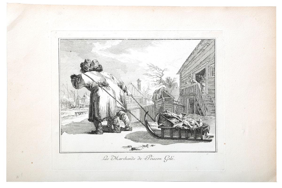 Жан-Батист Лепренс. Русские торговцы рыбой. Гравюра. Франция, 1764 годАККАА«Русские торговцы рыбой». Гравюра. Франция, 1764 год. Гравер: Жан-Батист Лепренс (Jean-Baptiste Le Prince 1734-1781), изобретатель техники акватинты. Размер листа 25,3 х 38,5 см, размер изображения 16,5 х 22,5 см. Сохранность очень хорошая. Жан-Батист Лепренс почти единственный среди иностранных художников того времени приехал в Россию после долгого путешествия по Италии и Голландии по собственной инициативе и на свой страх и риск. Подобное поведение можно объяснить только любовью к путешествиям и интересом к другим странам и необычным людям, поскольку в России Лепренс путешествовал, делая множество зарисовок местных людей, обычаев, зданий и костюмов. Он держался особняком, не став раболепным придворным; в Россию он прибыл скорее для того, чтобы ее узнать, а не для того, чтобы заработать. Именно Лепренс, вернувшись через пять лет из России, ввел во Франции кратковременную моду на русское в живописи и на экзотичный «русский стиль»,...