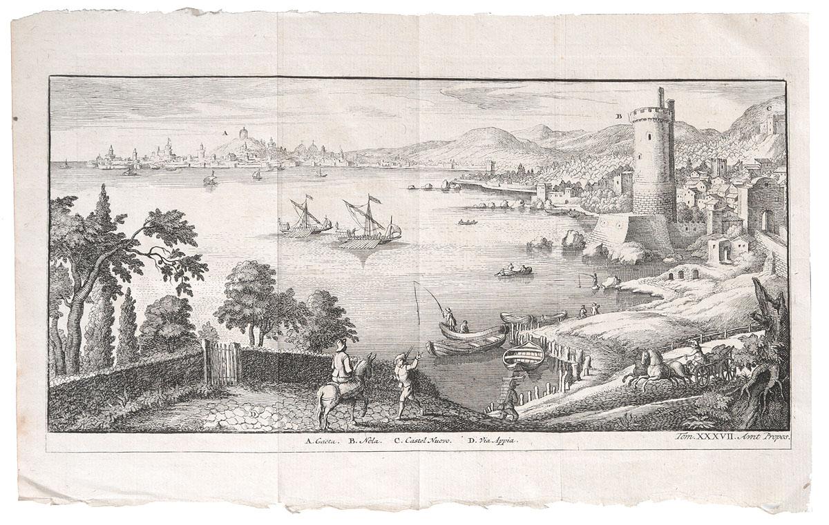Вид на побережье Неаполитанского залива. Гравюра на меди. Западная Европа, XVII векАККААГравюра на меди XVII века. Неизвестный художник. Размер листа:18.5 х 29 см. Размер изображения: 13 х 27 см. Сохранность хорошая. На гравюре изображен вид на Неаполь и Гаэту с Аппиевой дороги. Не подлежит вывозу за пределы Российской Федерации.