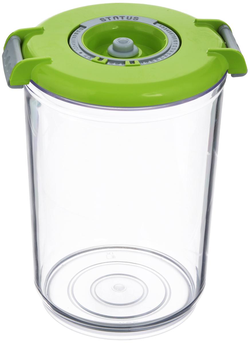 Контейнер вакуумный Status, с индикатором даты срока хранения, цвет: прозрачный, зеленый, 1,5 лVAC-RD-15 GreenВакуумный контейнер Status выполнен из хрустально-прозрачного прочного тритана. Благодаря вакууму, продукты не подвергаются внешнему воздействию, и срок хранения значительно увеличивается, сохраняют свои вкусовые качества и аромат, а запахи в холодильнике не перемешиваются. Допускается замораживание до -21°C, мойка контейнера в посудомоечной машине, разогрев в СВЧ (без крышки). Рекомендовано хранение следующих продуктов: макаронные изделия, крупа, мука, кофе в зёрнах, сухофрукты, супы, соусы. Контейнер имеет индикатор даты, который позволяет отмечать дату конца срока годности продуктов. Размер контейнера (с учетом крышки): 13 х 13 х 19,5 см.