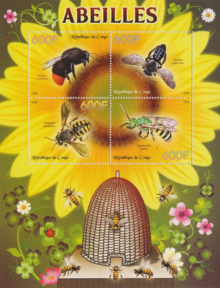 Малый лист Пчелы. Конго, 2014 годМКСПБ 37-2016.23Малый лист Пчелы. Конго, 2014 год. Размер листа: 12.5 х 16.5 см. Размер марок: 3.7 х 4.7 см. Сохранность хорошая.
