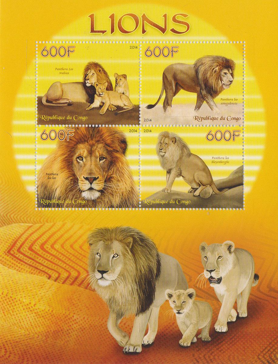 Малый лист Львы. Конго, 2014 годМКСПБ 37-2016.23Малый лист Львы. Конго, 2014 год. Размер листа: 12.5 х 16.5 см. Размер марок: 3.7 х 4.7 см. Сохранность хорошая.