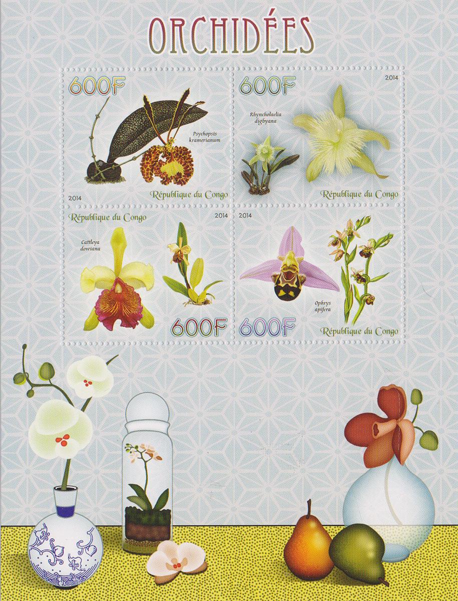 Малый лист Орхидеи. Конго, 2014 годМКСПБ 37-2016.23Малый лист Орхидеи. Конго, 2014 год. Размер листа: 12.5 х 16.5 см. Размер марок: 3.7 х 4.7 см. Сохранность хорошая.