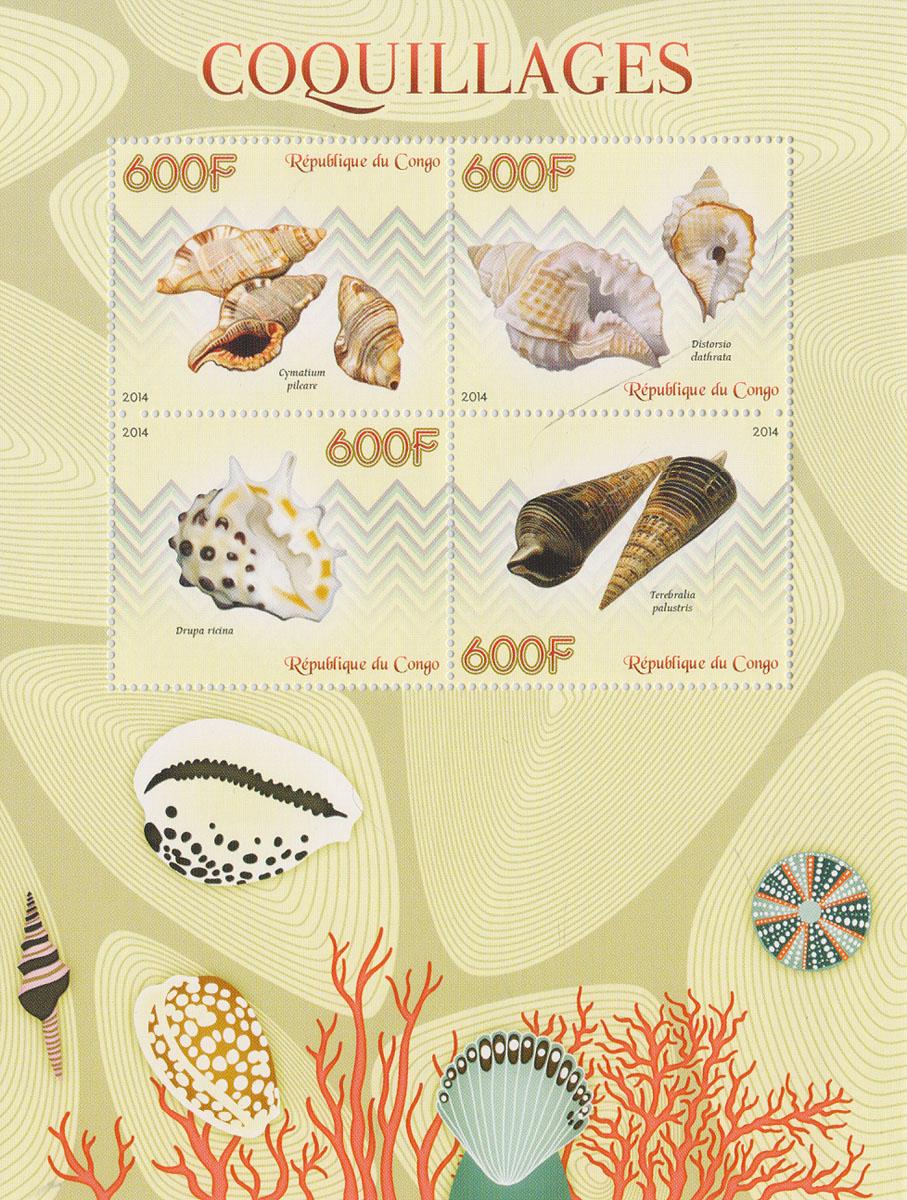 Малый лист Моллюски. Конго, 2014 годМКСПБ 37-2016.23Малый лист Моллюски. Конго, 2014 год. Размер листа: 12.5 х 16.5 см. Размер марок: 3.7 х 4.7 см. Сохранность хорошая.