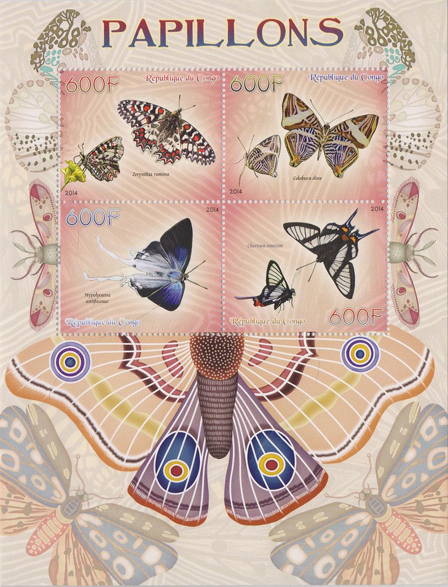Малый лист Бабочки. Конго, 2014 годМКСПБ 37-2016.23Малый лист Бабочки. Конго, 2014 год. Размер листа: 12.5 х 16.5 см. Размер марок: 3.7 х 4.7 см. Сохранность хорошая.