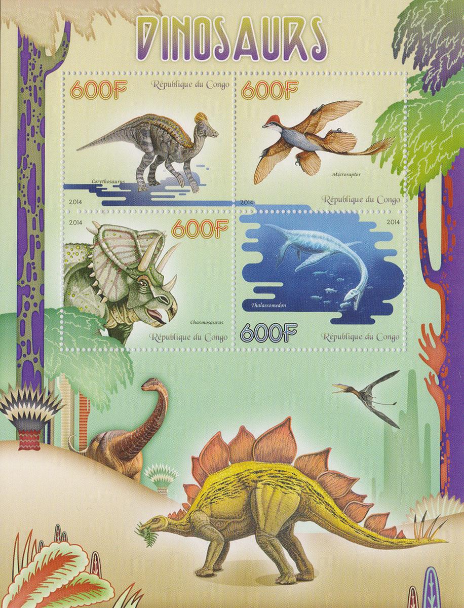 Малый лист Динозавры. Конго, 2014 годМКСПБ 37-2016.21Малый лист Динозавры. Конго, 2014 год. Размер листа: 12.5 х 16.5 см. Размер марок: 3.7 х 4.7 см. Сохранность хорошая.