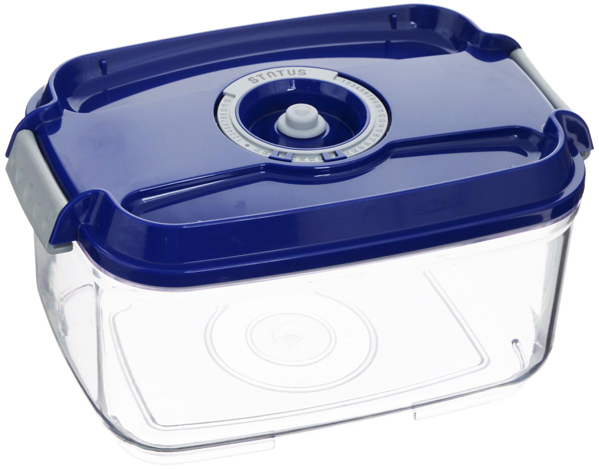 Контейнер вакуумный Status, с индикатором даты срока хранения, цвет: прозрачный, синий, 2 лVAC-REC-20 BlueВакуумный контейнер Status выполнен из хрустально-прозрачного прочного тритана. Благодаря вакууму, продукты не подвергаются внешнему воздействию, и срок хранения значительно увеличивается, сохраняют свои вкусовые качества и аромат, а запахи в холодильнике не перемешиваются. Допускается замораживание до -21°C, мойка контейнера в посудомоечной машине, разогрев в СВЧ (без крышки). Рекомендовано хранение следующих продуктов: макаронные изделия, крупа, мука, кофе в зёрнах, сухофрукты, супы, соусы. Контейнер имеет индикатор даты, который позволяет отмечать дату конца срока годности продуктов. Размер контейнера (с учетом крышки): 22,5 х 15,5 х 11,5 см.