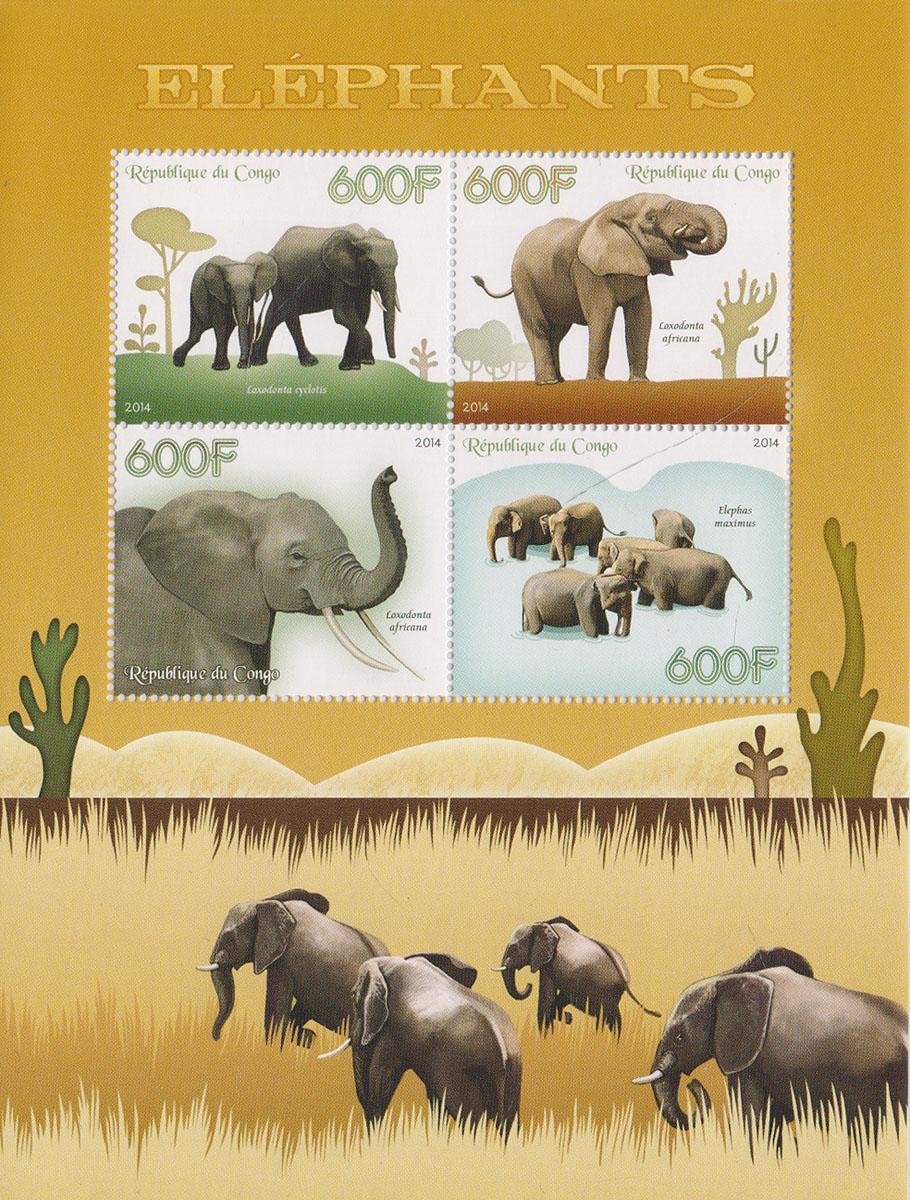 Малый лист Слоны. Конго, 2014 годМКСПБ 37-2016.16Малый лист Слоны. Конго, 2014 год. Размер листа: 12.5 х 16.5 см. Размер марок: 3.7 х 4.7 см. Сохранность хорошая.