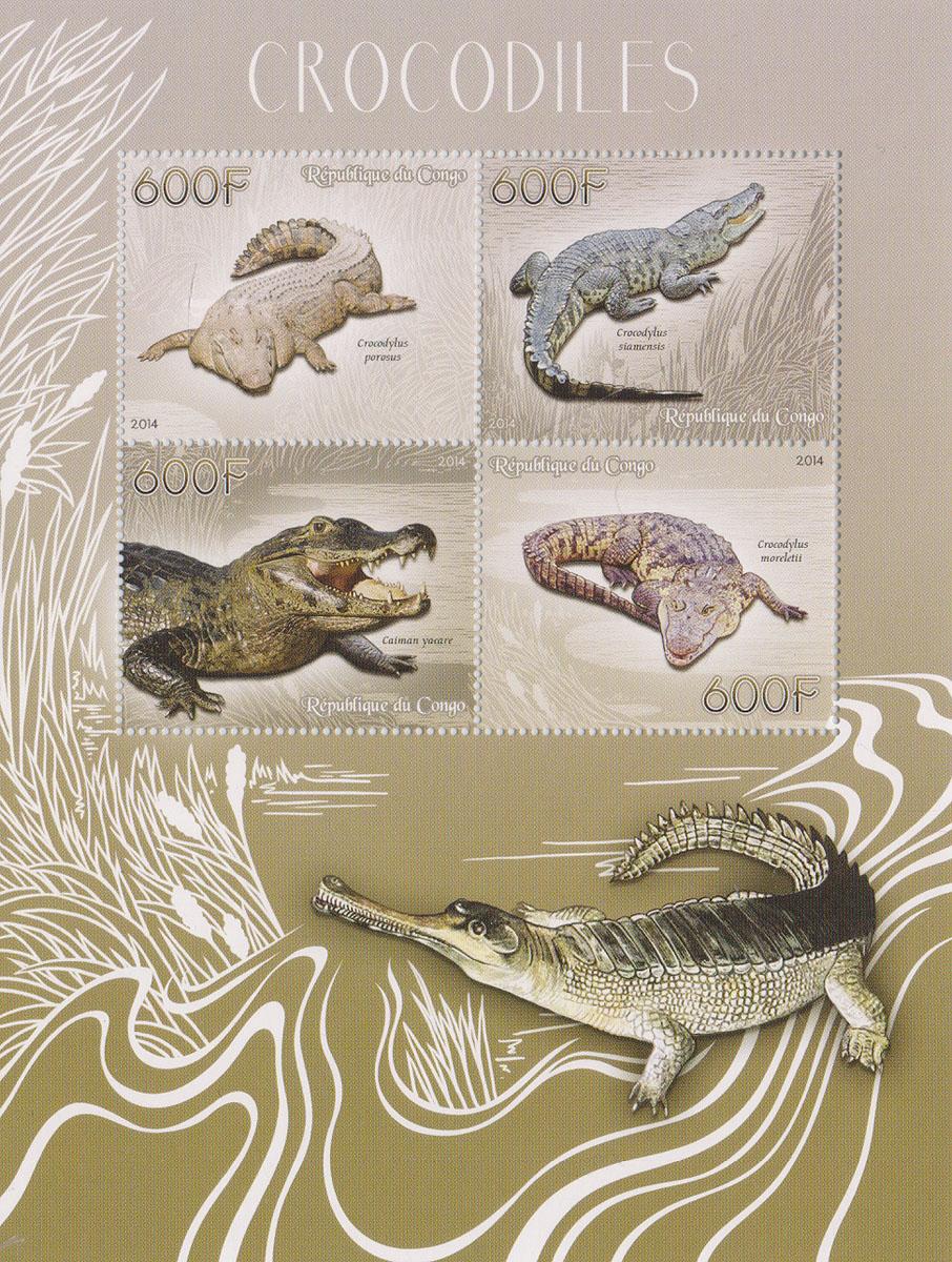 Малый лист Крокодилы. Конго, 2014 годМКСПБ 37-2016.16Малый лист Крокодилы. Конго, 2014 год. Размер листа: 12.5 х 16.5 см. Размер марок: 3.7 х 4.7 см. Сохранность хорошая.