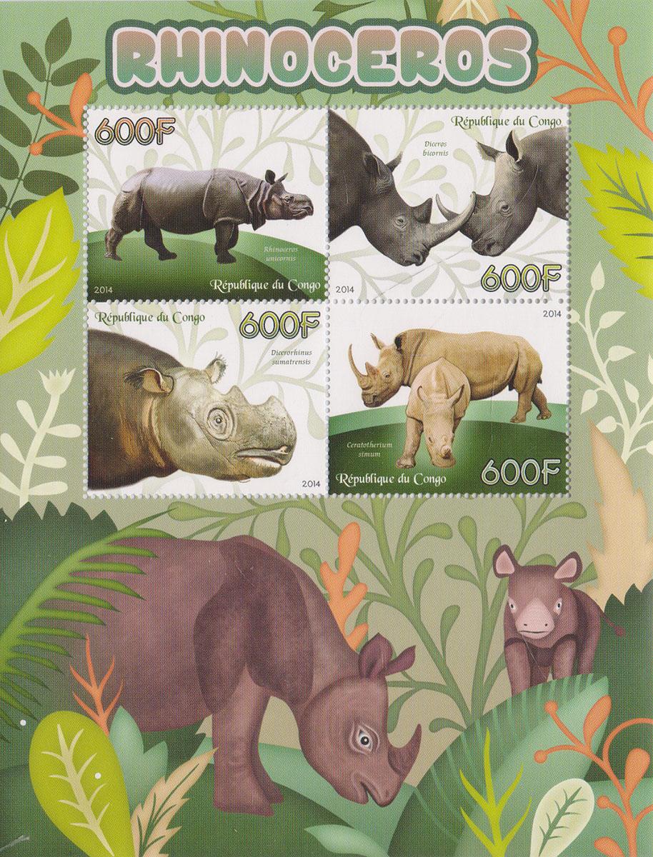 14 Малый лист Носороги. Конго, 2014 годМКСПБ 37-2016.14