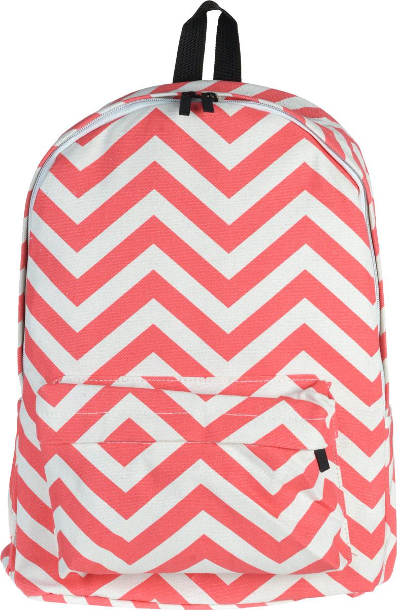 Рюкзак Kawaii Factory Zig-zag, цвет: розовый. KW102-000168KW102-000168Небольшой рюкзак Zig-zag от Kawaii Factory - привлекательный спутник для прогулок по городу. Изделие оснащено регулируемыми лямками, выполнено из хлопка. Рюкзак очень вместительный. Он имеет одно основное отделение, закрывающееся на застежку-молнию, один внутренний накладной карман, а также карман на молнии на передней части рюкзака. По бокам имеются небольшие кармашки для различных мелочей. Благодаря отличной эргономичности прогулочный рюкзак будет практически невесомым на вашей спине. Простой, но в то же время стильный - он определенно выделит своего обладателя из толпы и непременно поднимет настроение. А яркий современный дизайн, который является основной фишкой данной модели, будет радовать глаз. Данный рюкзак можно носить как на учебу, так и на прогулки.