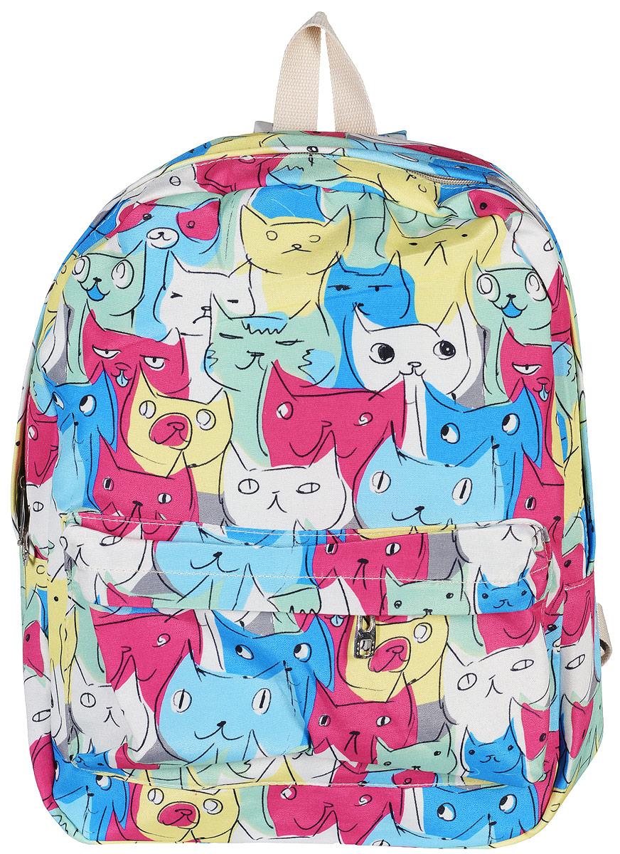 Рюкзак Kawaii Factory Collage - Cat, цвет: голубой, розовый, желтый. KW102-000186KW102-000186Милый рюкзак Collage - Cat от Kawaii Factory с эмоциональными котами подойдет не только любителю котиков, но и любому позитивному человеку с чувством юмора. В нем есть все, что нужно - одно основное отделение, закрывающееся на застежку-молнию, один внутренний накладной карман, а также вместительный карман на молнии на передней части рюкзака. Благодаря отличной эргономичности прогулочный рюкзак будет практически невесомым на вашей спине. Мордочки котов выражают различные чувства, от радости до озадаченности, вызывая улыбку своим потешным видом. Такой рюкзак обязательно поднимет настрой в любой ситуации. Не носите в себе плохое настроение, носите котиков за спиной!