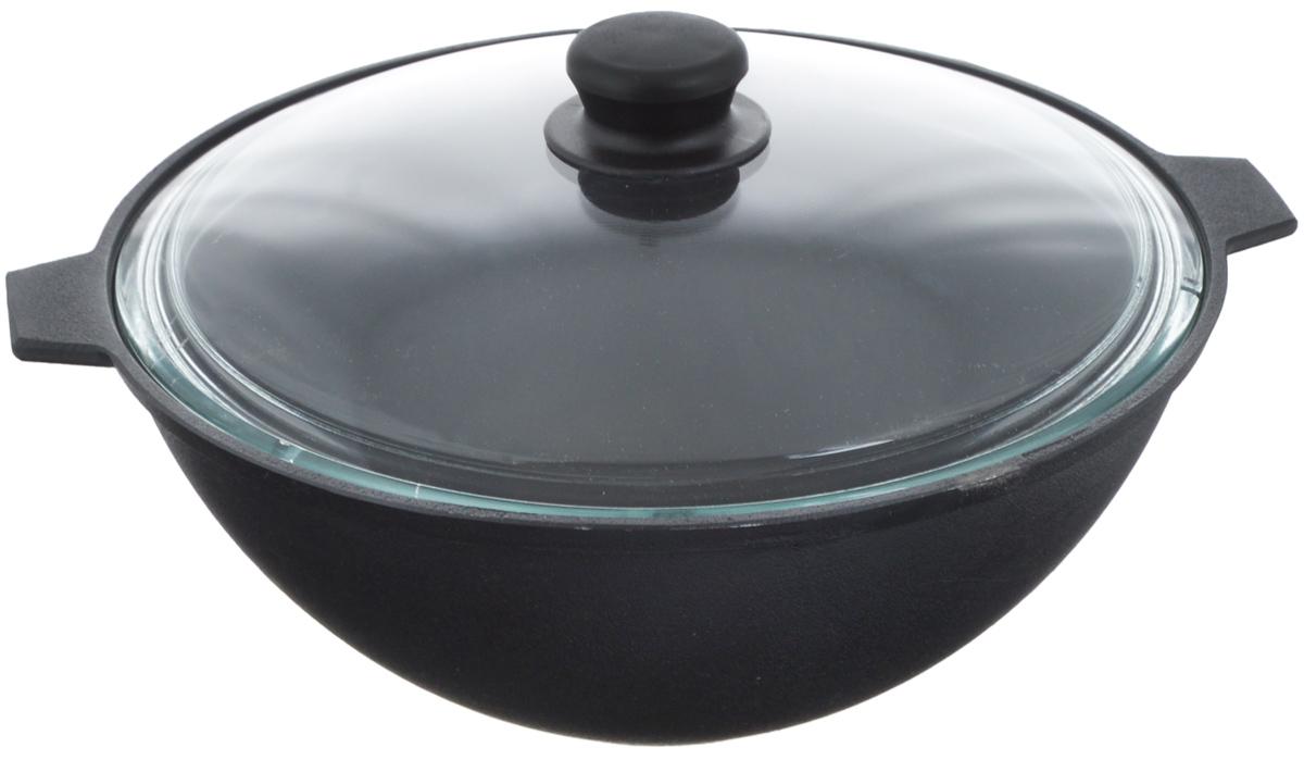 Котел чугунный Добрыня, с крышкой, 5 л. DO-3339DO-3339Котел Добрыня изготовлена из натурального экологически безопасного чугуна. Изделие оснащено двумя ручками и стеклянной крышкой. Чугун является одним из лучших материалов для производства посуды. Его можно нагревать до высоких температур. Он очень практичный, не выделяет токсичных веществ, обладает высокой теплоемкостью и способен служить долгие годы. Такой котел замечательно подойдет для приготовления жаренных и тушеных блюд. Подходит для всех типов плит, включая индукционные. Изделие мыть только вручную. Диаметр котла по верхнему краю: 28 см. Ширина котла с (учетом ручек): 35 см. Высота стенки: 12,5 см.