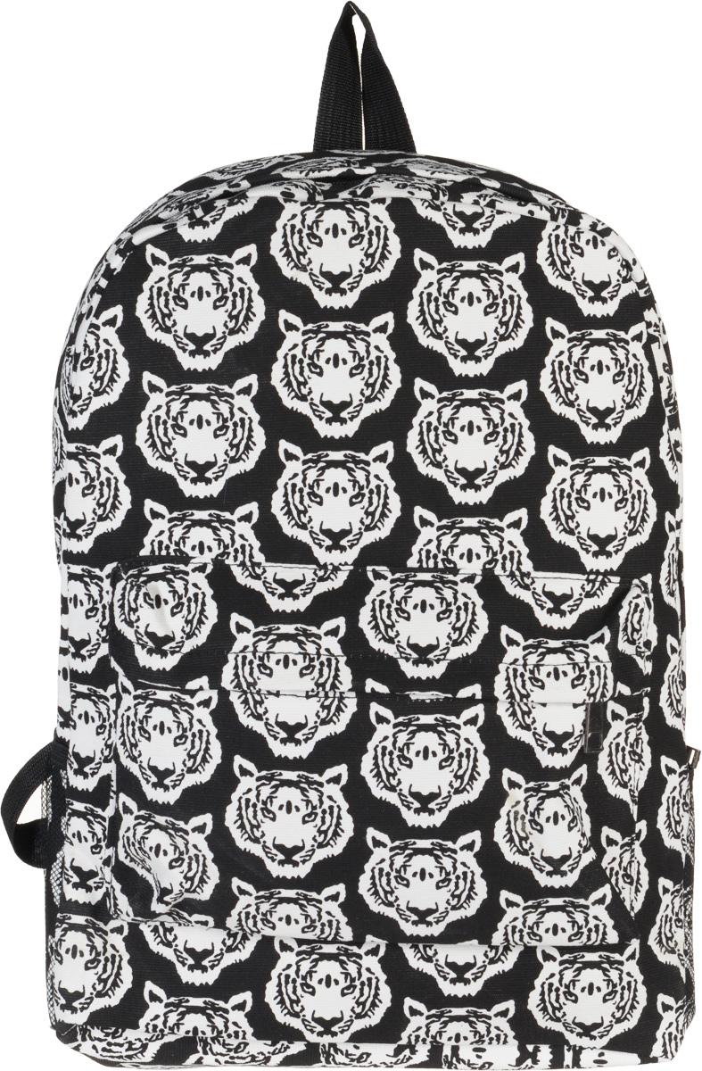 Рюкзак Kawaii Factory B&W - Tigers, цвет: черный, белый. KW102-000134KW102-000134Оригинальный рюкзак от Kawaii Factory B&W - Owls подчеркнет ваш неординарный вкус и стиль. Изделие полностью выполнено из натурального хлопка и закрывается на удобную молнию. Рюкзак оформлен оригинальным принтом с изображением тигров. На лицевой стороне расположен объемный карман на молнии для мелочей. Рюкзак имеет боковые сеточные карманы для переноса бутылок с водой. Внутри находится вместительное отделение, которое содержит накладной открытый карман. Также рюкзак оснащен удобными лямками, длину которых можно регулировать с помощью пряжек. Такой модный и практичный рюкзак станет незаменимым спутником как для школьника, так и для любителя путешествий.