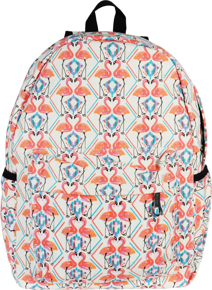 Рюкзак Kawaii Factory Flamingo, цвет: белый, розовый. KW102-000174KW102-000174Лето - пора, когда возникает острое желание окружать себя яркими и выделяющимися вещами. Хлопковый рюкзак Flamingo от Kawaii Factory как раз относится к разряду таких аксессуаров. Городской рюкзак с изображением розовых фламинго обладает невероятной вместительностью и привлекательным дизайном. В нем достаточно места, чтобы разместить книги, гаджеты, запас одежды и все самое нужное. Прочные надежные лямки помогут перенести даже самый тяжелый груз. Внутри - одно основное отделение, закрывающееся на застежку-молнию, один внутренний накладной карман, а также карман на молнии на передней части рюкзака. По бокам имеются небольшие открытые кармашки для различных мелочей. Разукрасьте городские серые будни, смело приковывая взгляды окружающих!