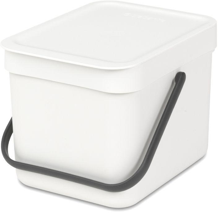 Ведро для мусора Brabantia Sort & Go, цвет: белый, 6 л109706Ведро вместимостью 6 литров с фиксируемой в открытом положении крышкой превосходно подходит для сбора органических отходов непосредственно на кухонном столе.. Идеальное решение для сбора компостируемых отходов непосредственно на кухонном столе; Может использоваться на кухонном столе или крепиться к стене – в комплект входит настенный держатель; Имеются идеально подходящие по размеру биоразлагаемые мешки для компостируемых отходов (размер S) – удобно устанавливаются в ведро; Гарантия 10 лет.