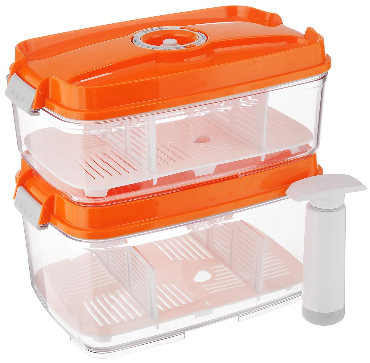 Набор вакуумных контейнеров Status, с индикатором даты срока хранения, цвет: прозрачный, оранжевый, 2 шт + ПОДАРОК: Вакуумный ручной насосVAC-REC-Bigger OrangeНабор вакуумных контейнеров Status выполнен из хрустально-прозрачного прочного тритана. Благодаря вакууму, продукты не подвергаются внешнему воздействию, и срок хранения значительно увеличивается, сохраняют свои вкусовые качества и аромат, а запахи в холодильнике не перемешиваются. Допускается замораживание до -21°C, мойка контейнеров в посудомоечной машине, разогрев в СВЧ (без крышки). Рекомендовано хранение следующих продуктов: макаронные изделия, крупа, мука, кофе в зёрнах, сухофрукты, супы, соусы. Каждый контейнер имеет индикатор даты, который позволяет отмечать дату конца срока годности продуктов. К каждому контейнеру прилагаются 2 разделителя и поддон. В комплекте также имеется вакуумный ручной насос, с помощью которого одним простым движением можно быстро выкачать воздух из контейнера. Объем первого контейнера: 3 л. Объем второго контейнера: 4,5 л. Размер двух контейнеров (по верхнему краю): 27 х...