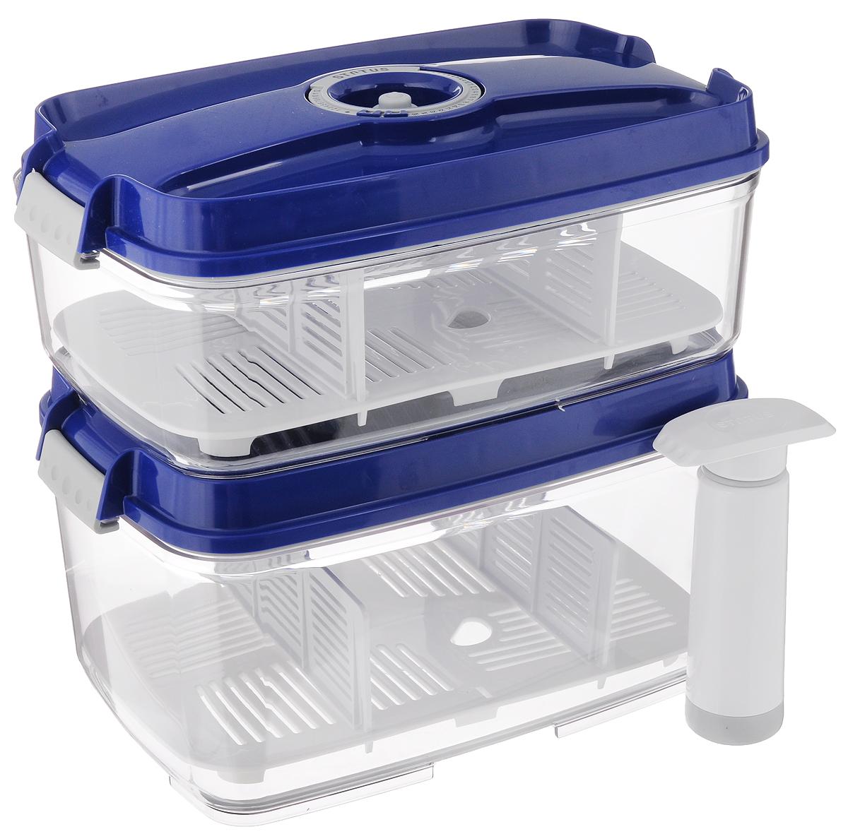 """Набор вакуумных контейнеров """"Status"""", с индикатором даты срока хранения, цвет: прозрачный, синий, 2 шт + ПОДАРОК: Вакуумный ручной насос"""