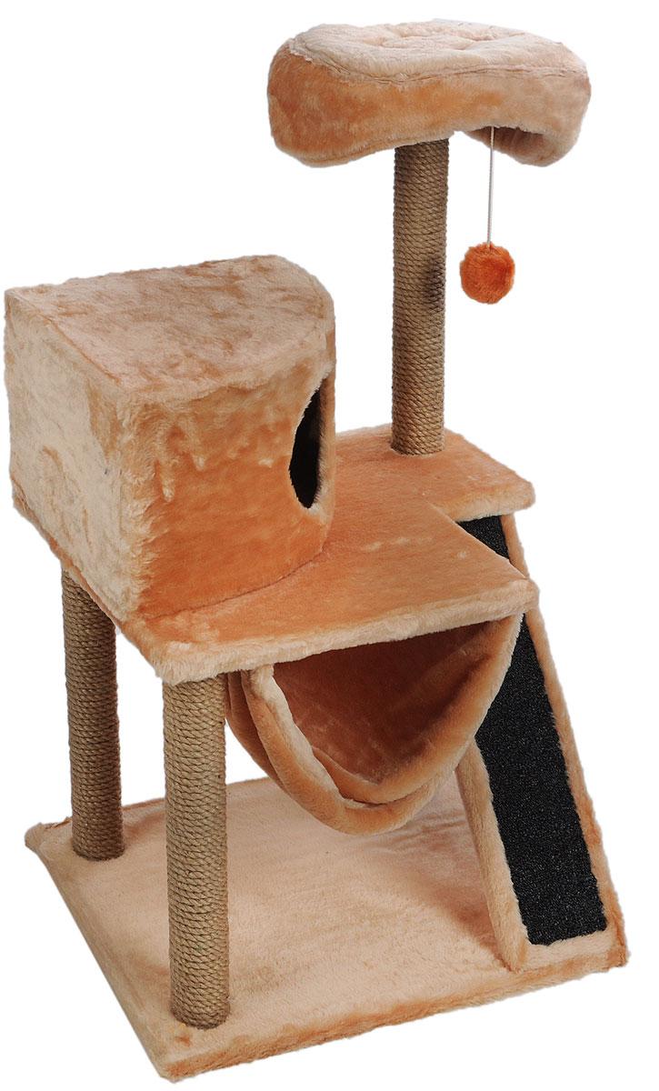 Игровой комплекс для кошек ЗооМарк Мурка, цвет: бежевый, темно-серый, 63 х 46 х 116 см125_бежевыйИгровой комплекс для кошек ЗооМарк Мурка выполнен из высококачественного дерева и обтянут искусственным мехом. Изделие предназначено для кошек. Комплекс имеет 3 яруса. Ваш домашний питомец будет с удовольствием точить когти о специальные столбики, изготовленные из джута. Также точить когти поможет площадка, оснащенная вставкой из ковролина. А отдохнуть он сможет либо на полках, либо домике или гамаке. На одной из полок расположена игрушка, которая еще сильнее привлечет внимание питомца. Общий размер: 63 х 46 х 116 см. Размер домика: 37 х 37 х 25 см. Диаметр верхней полки: 30 см.