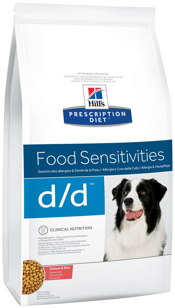 Корм сухой для собак Hills D/D Allergy & Skin Care, диетический, для лечения пищевых аллергий, с лососем и рисом, 12 кг9178Сухой корм для собак Hills D/D - полноценный диетический рацион для собак, склонных к пищевым реакциям, или с непереносимостью компонентов пищи. Поддерживает здоровье кожи при дерматитах и чрезмерной потере шерсти. Содержит специально подобранные источники протеинов, углеводов и высокий уровень полиненасыщенных жирных кислот. Не содержит распространенных пищевых аллергенов, содержит высокий уровень незаменимых жирных кислот для улучшения состояния кожи вашей собаки. - Превосходный вкус понравится вашей собаке. - Супер антиоксидантная формула повышает устойчивость клеток организма к воздействию свободных радикалов. Монодиета. Не требует дополнений. Рекомендации по кормлению: рекомендуемое число кормлений 2 раза в сутки и более. Рекомендуемая продолжительность диетотерапии при пищевой аллергии/непереносимости компонентов пищи - 3-8 недель, при исчезновении клинических симптомов диету можно применять без временных ограничений. Рекомендуемая...