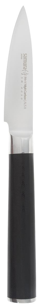 Нож для чистки овощей Samura Mo-V, длина лезвия 8 смSM-0010/G-10Кухонный нож Samura Mo-V предназначен для чистки овощей. Лезвие выполнено из высококачественной нержавеющей стали. Эргономичная рукоятка, выполненная из стеклопластика, не скользит в руках и делает нарезку удобной и безопасной. Благодаря уникальной формуле стали и качеству ее обработки, лезвие имеет высокий показатель твердости, что позволяет ему долго сохранять острую заточку. Нож Samura Mo-V займет достойное место среди аксессуаров на вашей кухне. Длина ножа: 20 см.