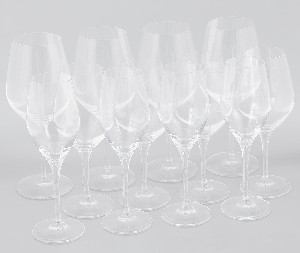 Набор бокалов Spiegelau Аутентис, 12 шт4400192Набор Spiegelau Аутентис состоит из 12 бокалов, выполненных из прочного стекла. Изделия оснащены высокими ножками. Бокалы предназначены для подачи шампанского, красного и белого вина. Они сочетают в себе элегантный дизайн и функциональность. Благодаря такому набору пить напитки будет еще вкуснее. Набор бокалов Spiegelau Аутентис прекрасно оформит праздничный стол и создаст приятную атмосферу за романтическим ужином. Такой набор также станет хорошим подарком к любому случаю. Можно мыть в посудомоечной машине. Диаметр бокала для шампанского (по верхнему краю): 5 см. Диаметр основания бокала для шампанского: 7 см. Высота бокала для шампанского: 22,5 см. Диаметр бокала для белого вина (по верхнему краю): 5,5 см. Диаметр основания бокала для белого вина: 7,5 см. Высота бокала для белого вина: 21 см. Диаметр бокала для красного вина (по верхнему краю): 7 см. Диаметр основания красного для белого вина: 8,5 см. ...