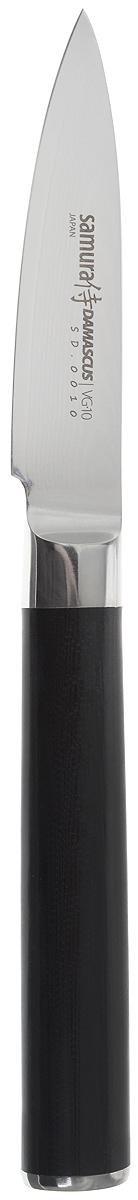 Нож для чистки овощей Samura DAMASCUS, цвет: черный, серебристый, длина лезвия 8 см, SD-0010/G-10SD-0010/G-10Нож для чистки овощей Samura DAMASCUS . Кухонные ножи Samura DAMASCUS - это высококачественные кухонные ножи из лучшей японской стали VG-10 с обкладкой из дамаска (67 слоев) SUS430 и SUS431. Идеальная балансировка, сверхострая кромка, эргономичная рукоять из прочной микарты. Сплавленный с лезвием больстер отвечает всем гигиеническим требованиям. Металлический стержень проходит через всю рукоять и придает надежность соединению рукояти с лезвием. Нож Samura DAMASCUS имеет небольшое прямое лезвие, которое идеально для очистки овощей от кожуры и различных замысловатых работ, связанных с вырезанием сложных фигур. Samura DAMASCUS займет достойное место среди аксессуаров на любой кухне. Используйте кухонные ножи только на разделочной доске из дерева или пластика (стеклянные доски способны затупить любую сталь). Общая длина ножа: 19.5 см.