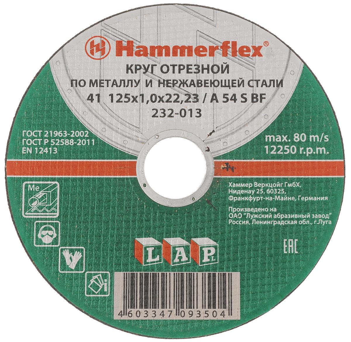 Круг отрезной по металлу и нержавеющей стали Hammerflex, 125 х 1,0 х 22,23 мм86893Круг отрезной FIT изготовлен из бакелита, армированного волокном. Используется для точного и ровного разрезания материалов из различных сталей и сплавов, включая нержавеющую сталь. Предназначен для установки на углошлифовальные машины (болгарки). Прочная армирующая сетка гарантирует высокую износостойкость диска и сопротивление на излом. Позволяет выполнять работы на высоких скоростях (до 12250 оборотов в минуту).