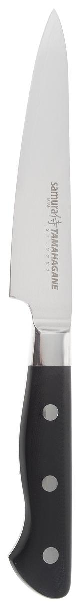 Нож универсальный Samura TAMAHAGANE, цвет: черный, серебристый, длина лезвия 11,5 см ST-0021/G-10ST-0021/G-10Нож универсальный Samura TAMAHAGANE. Samura TAMAHAGANE-безупречная серия японских ножей класса luxury, это 33 слоя сверхтвердой стали с высоким содержанием никеля и ванадия. Неповторимый по красоте мозаичный рисунок стали возникает благодаря многократной проковке, раскатке и протяжке металла в процессе производства. Этот узор знаком всем профессионалам и является признаком высочайшего японского качества и престижа. Универсальный Samura TAMAHAGANE подойдет для нарезки различных продуктов. Общая длина ножа: 22 см.