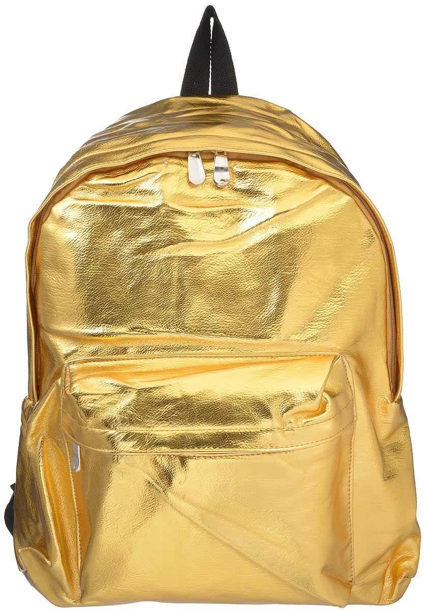 Рюкзак Kawaii Factory Metallic, цвет: золотой. KW102-000143KW102-000143Небольшой рюкзак Metallic от Kawaii Factory - привлекательный спутник для прогулок по городу. Изделие оснащено регулируемыми лямками, выполнено из искусственной кожи. Рюкзак очень вместительный. Он имеет одно основное отделение, закрывающееся на застежку-молнию, а также карман на молнии на передней части рюкзака. Благодаря отличной эргономичности прогулочный рюкзак будет практически невесомым на вашей спине. Простой, но в то же время стильный - он определенно выделит своего обладателя из толпы и непременно поднимет настроение. А яркий современный дизайн, который является основной фишкой данной модели, будет радовать глаз. Данный рюкзак можно носить как на учебу, так и на прогулки.