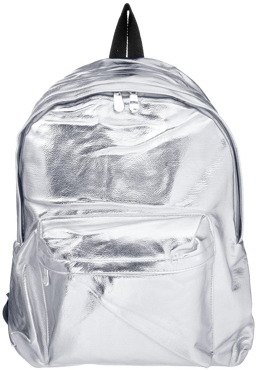 Рюкзак Kawaii Factory Metallic, цвет: серебрянный. KW102-000142KW102-000142Небольшой рюкзак Metallic от Kawaii Factory - привлекательный спутник для прогулок по городу. Изделие оснащено регулируемыми лямками, выполнено из искусственной кожи. Рюкзак очень вместительный. Он имеет одно основное отделение, закрывающееся на застежку-молнию, а также карман на молнии на передней части рюкзака. Благодаря отличной эргономичности прогулочный рюкзак будет практически невесомым на вашей спине. Простой, но в то же время стильный - он определенно выделит своего обладателя из толпы и непременно поднимет настроение. А яркий современный дизайн, который является основной фишкой данной модели, будет радовать глаз. Данный рюкзак можно носить как на учебу, так и на прогулки.