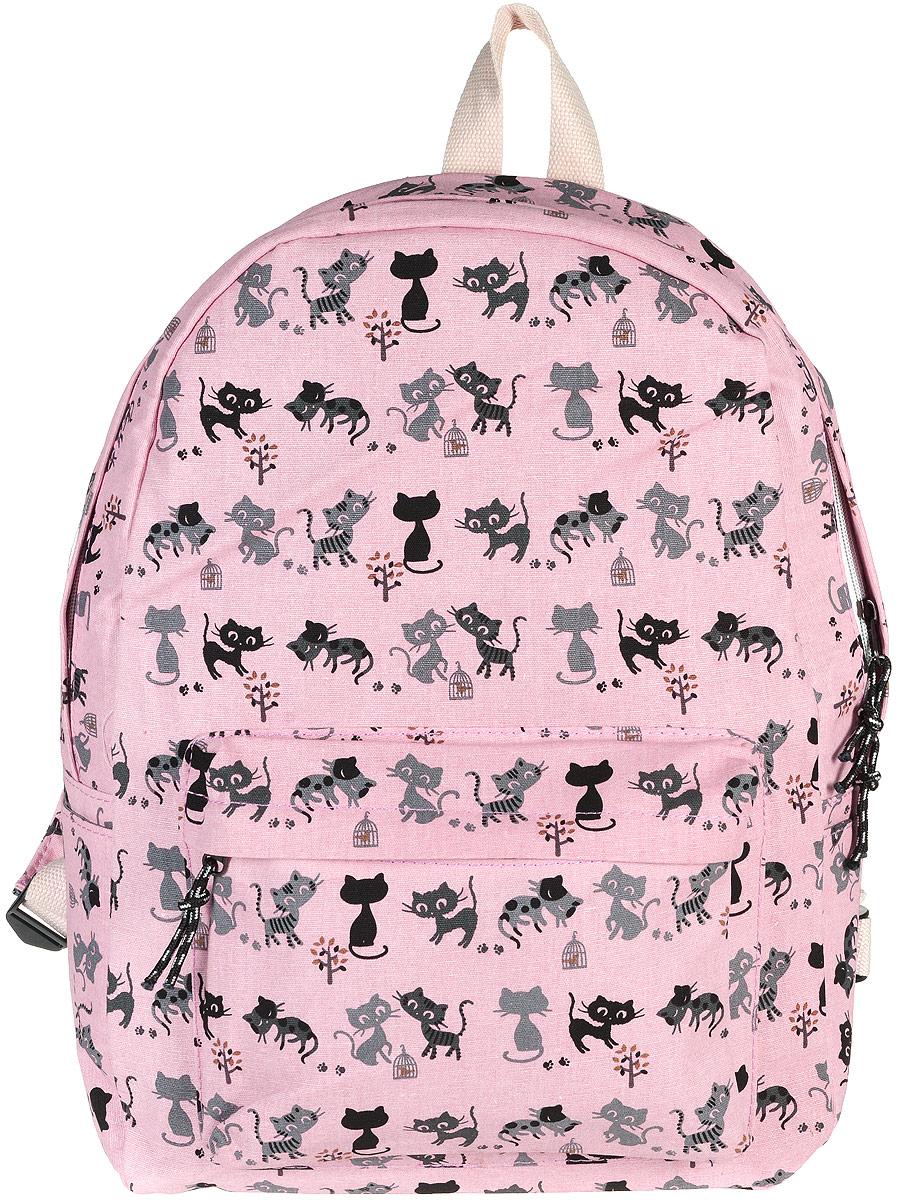 Рюкзак женский Kawaii Factory Cat, цвет: розовый. KW102-000173KW102-000173Рюкзак Cat от Kawaii Factory - идеальное сочетание креативного дизайнерского подхода и простоты исполнения. Модный рюкзак с черными котами удобный и функциональный, сшит из прочного материала. В нем есть все, что нужно - одно основное отделение, закрывающееся на застежку-молнию, один внутренний накладной карман, а также карман на молнии на передней части рюкзака. По бокам имеются небольшие открытые кармашки для различных мелочей. Благодаря отличной эргономичности прогулочный рюкзак будет практически невесомым на вашей спине. Рюкзак непременно приглянется активным девушкам, желающим выделиться среди толпы и подчеркнуть свой неповторимый стиль. Просто невозможно остаться незамеченной, имея за спиной ранец Cat с забавным принтом.