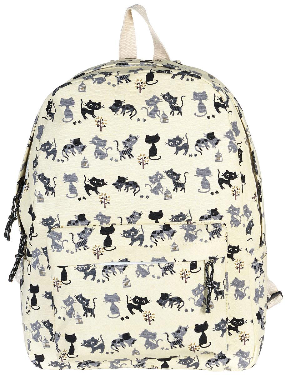 Рюкзак женский Kawaii Factory Cat, цвет: бежевый. KW102-000171KW102-000171Рюкзак Cat от Kawaii Factory - идеальное сочетание креативного дизайнерского подхода и простоты исполнения. Модный рюкзак с черными котами удобный и функциональный, сшит из прочного материала. В нем есть все, что нужно - одно основное отделение, закрывающееся на застежку-молнию, один внутренний накладной карман, а также карман на молнии на передней части рюкзака. По бокам имеются небольшие кармашки для различных мелочей. Благодаря отличной эргономичности прогулочный рюкзак будет практически невесомым на вашей спине. Рюкзак непременно приглянется активным девушкам, желающим выделиться среди толпы и подчеркнуть свой неповторимый стиль. Просто невозможно остаться незамеченной, имея за спиной ранец Cat с забавным принтом.