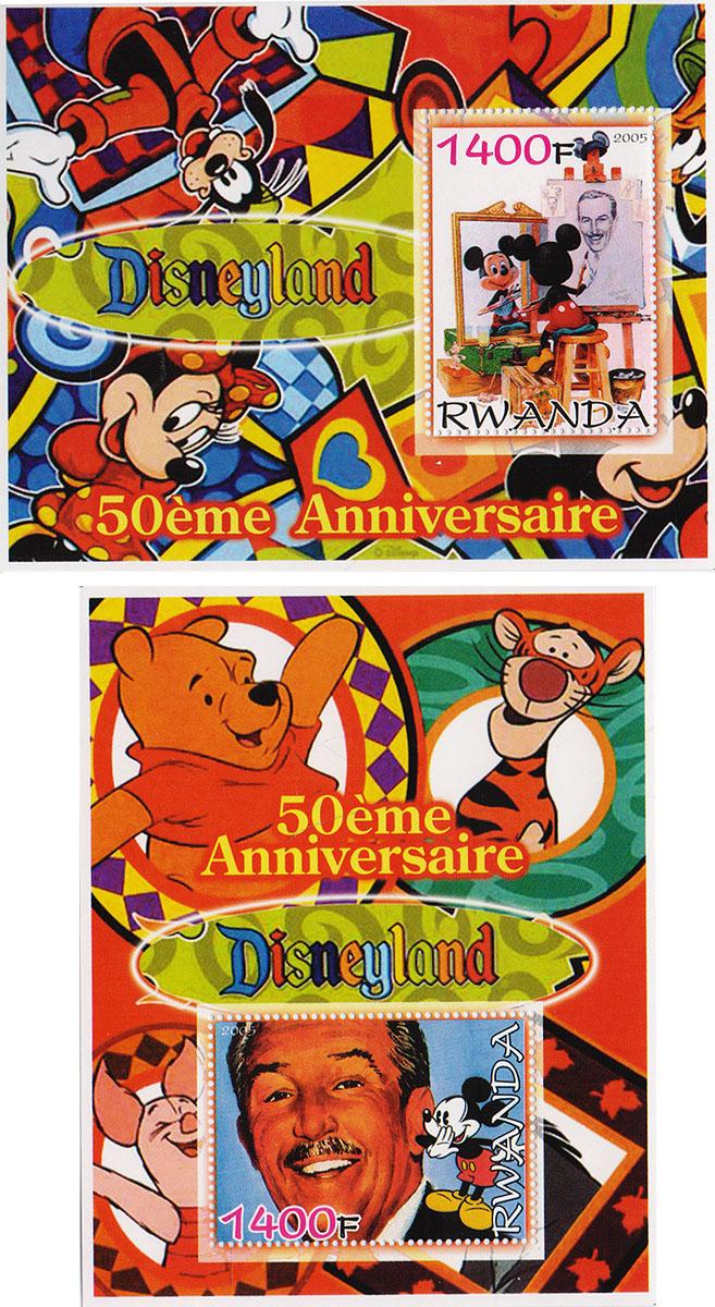 Комплект из 2 почтовых блоков Диснейлэнд. 50-й юбилей . Руанда, 2005 годМКСПБ 36-2016.08Комплект из 2 почтовых блоков Диснейлэнд. 50-й юбилей . Руанда, 2005 год